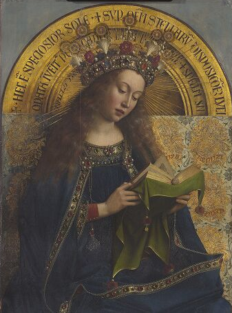 virgin enthroned from the Ghent alterpiece by Van Eyck on Shalavee.com