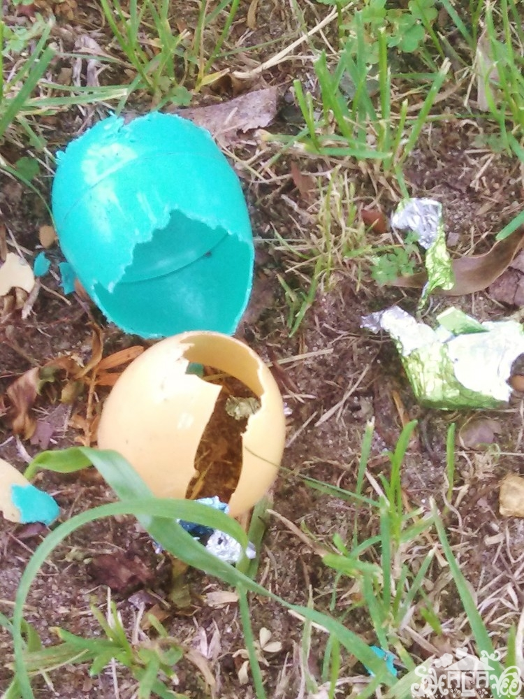 Easter eggs on the church lawn from May brings Spring Flowers on Shalavee.com