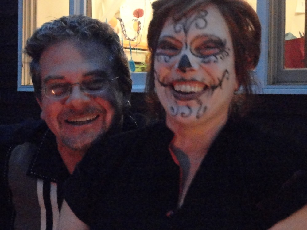 Mark and Me with the Day of the Dead makeup for halloween while I was pregnant with Fiona on Shalavee.com