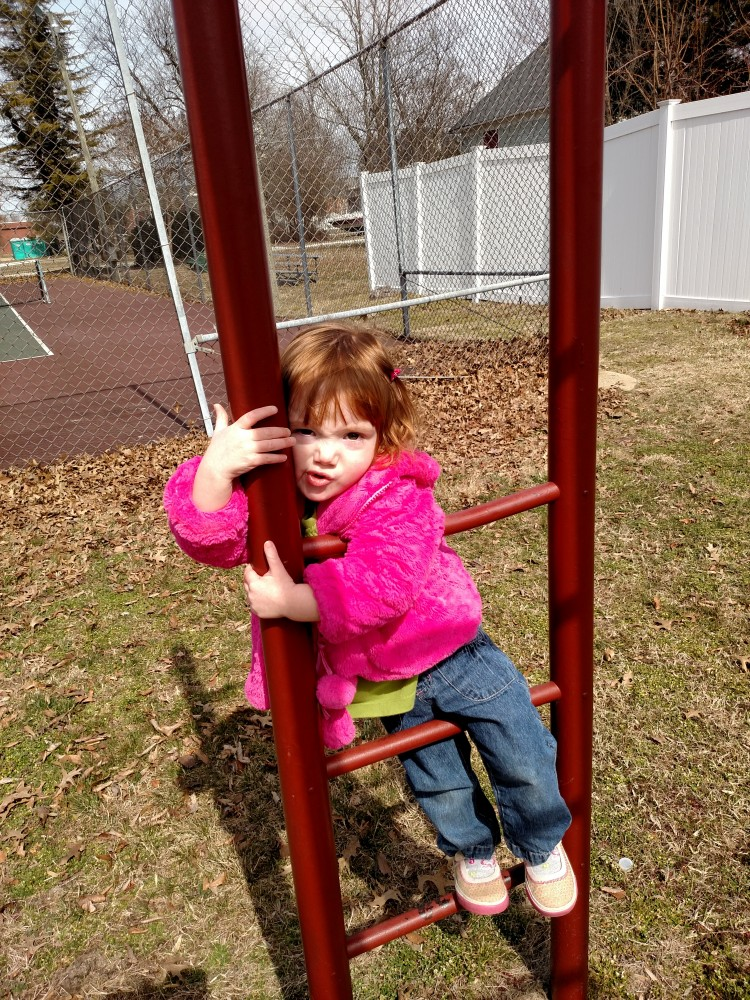 Fiona with a smooshed face on the monkey bars